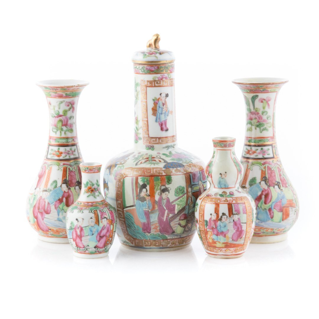 Five Chinese Export Famille Rose miniature vases