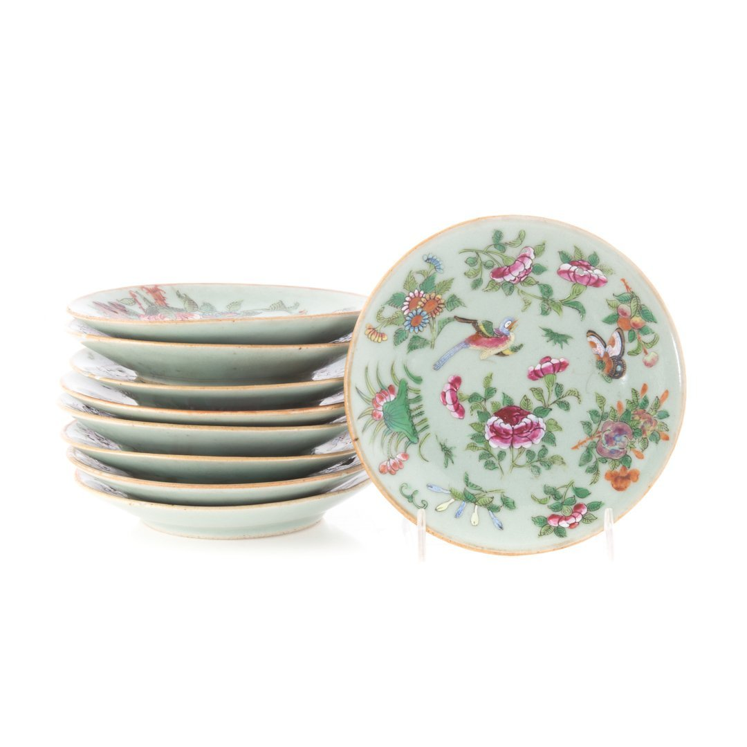Nine Chinese Export celadon bread plates/saucers