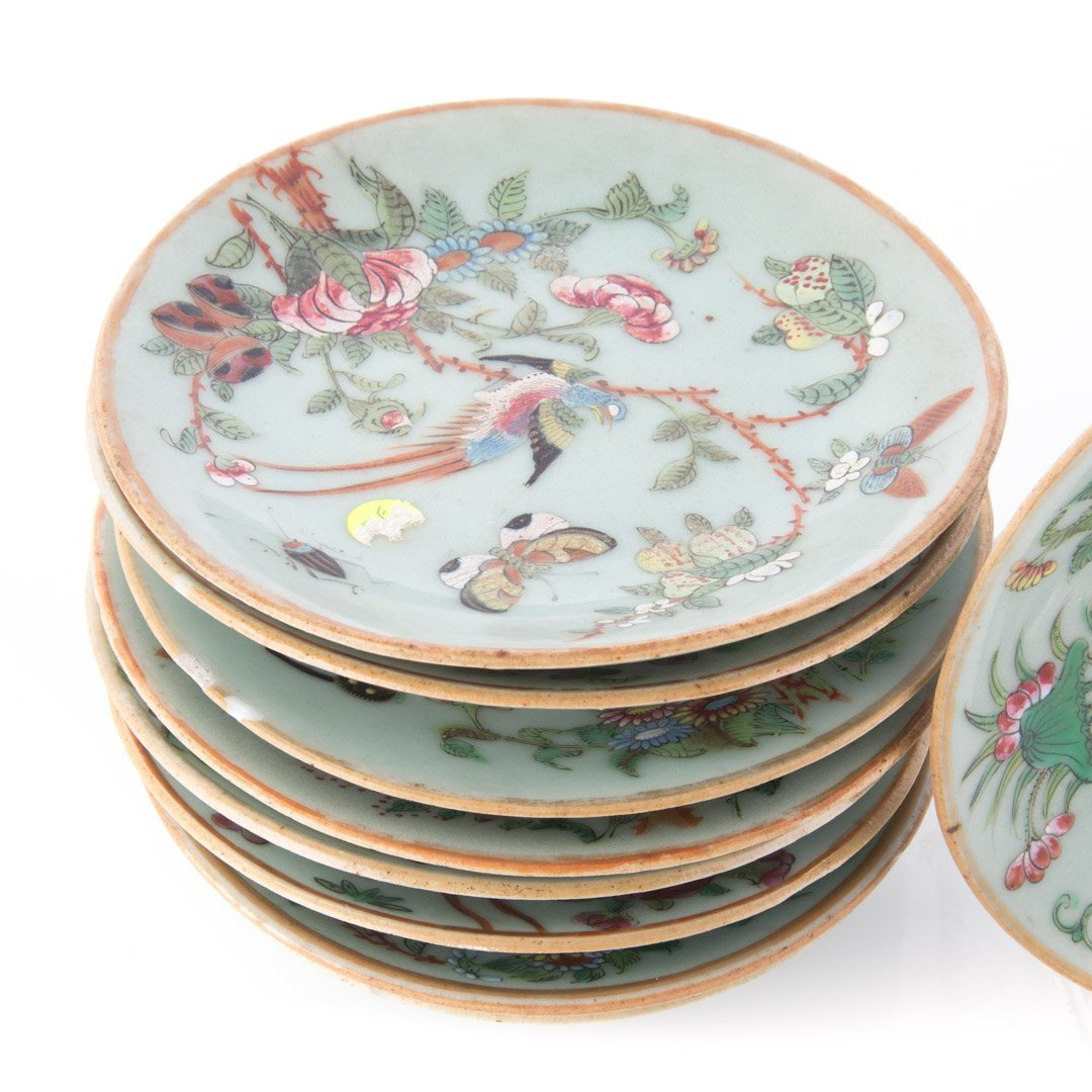 Nine Chinese Export celadon bread plates/saucers - 2