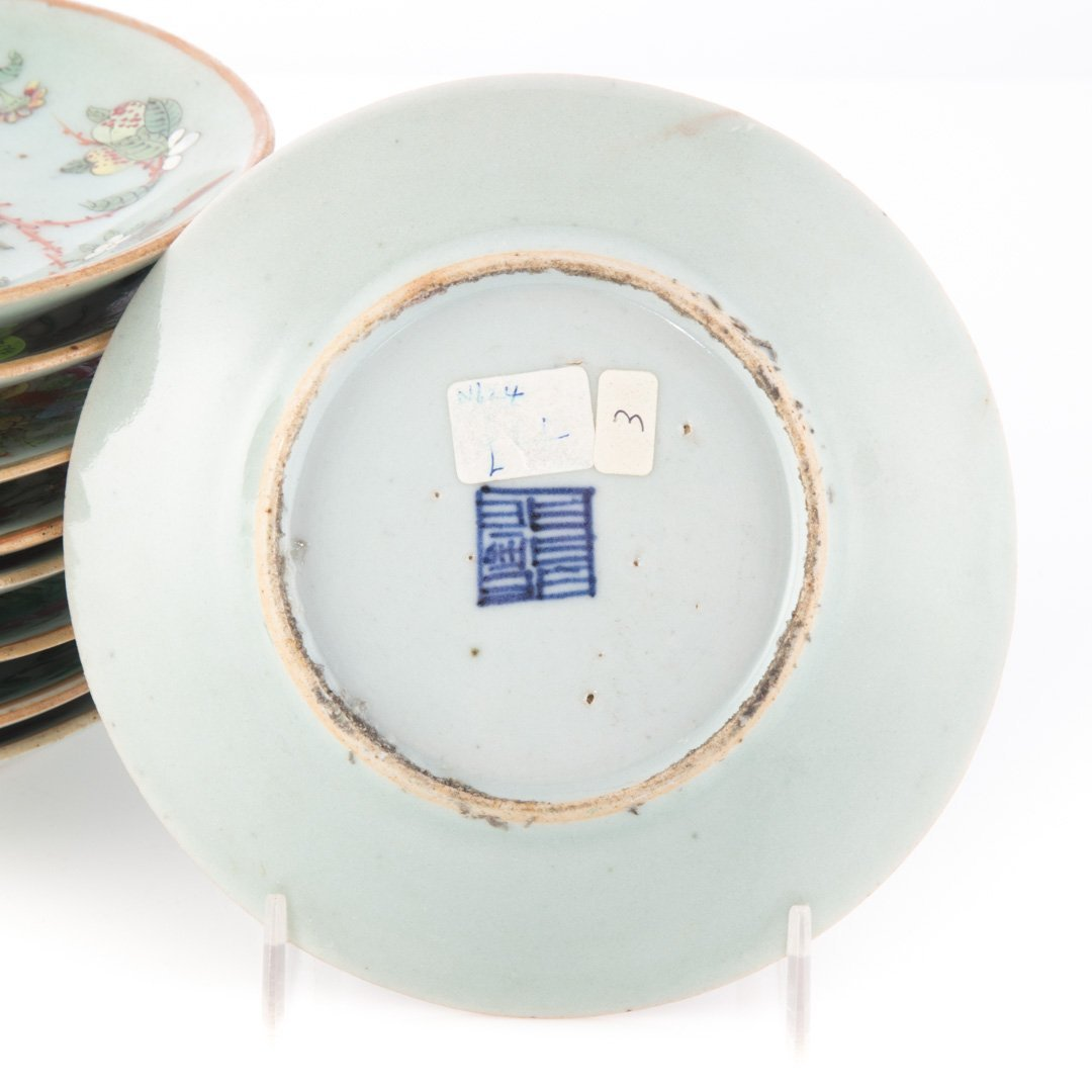 Nine Chinese Export celadon bread plates/saucers - 3