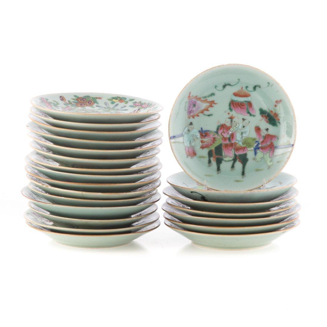 22 Chinese Export celadon dessert plates