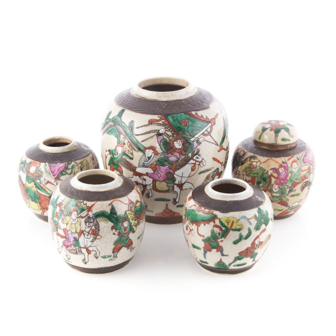 Five Chinese Export Famille Rose ginger jars