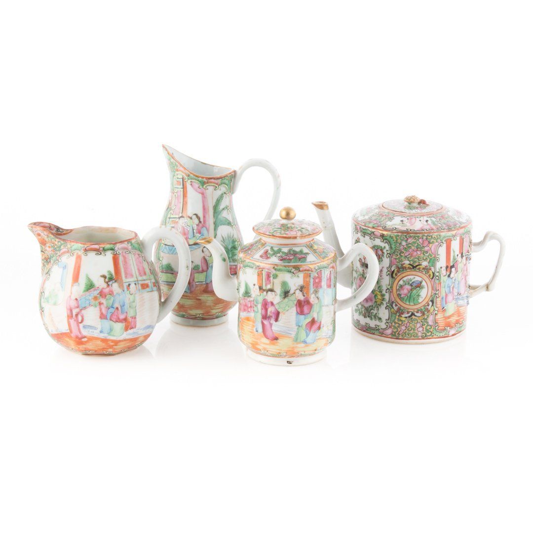 Four Chinese Export Rose Medallion tea articles