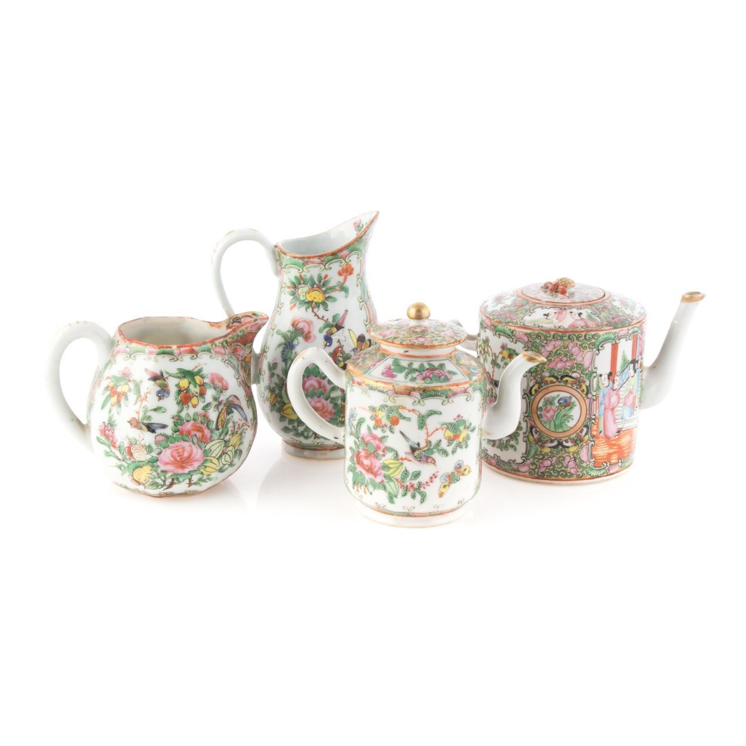 Four Chinese Export Rose Medallion tea articles - 2