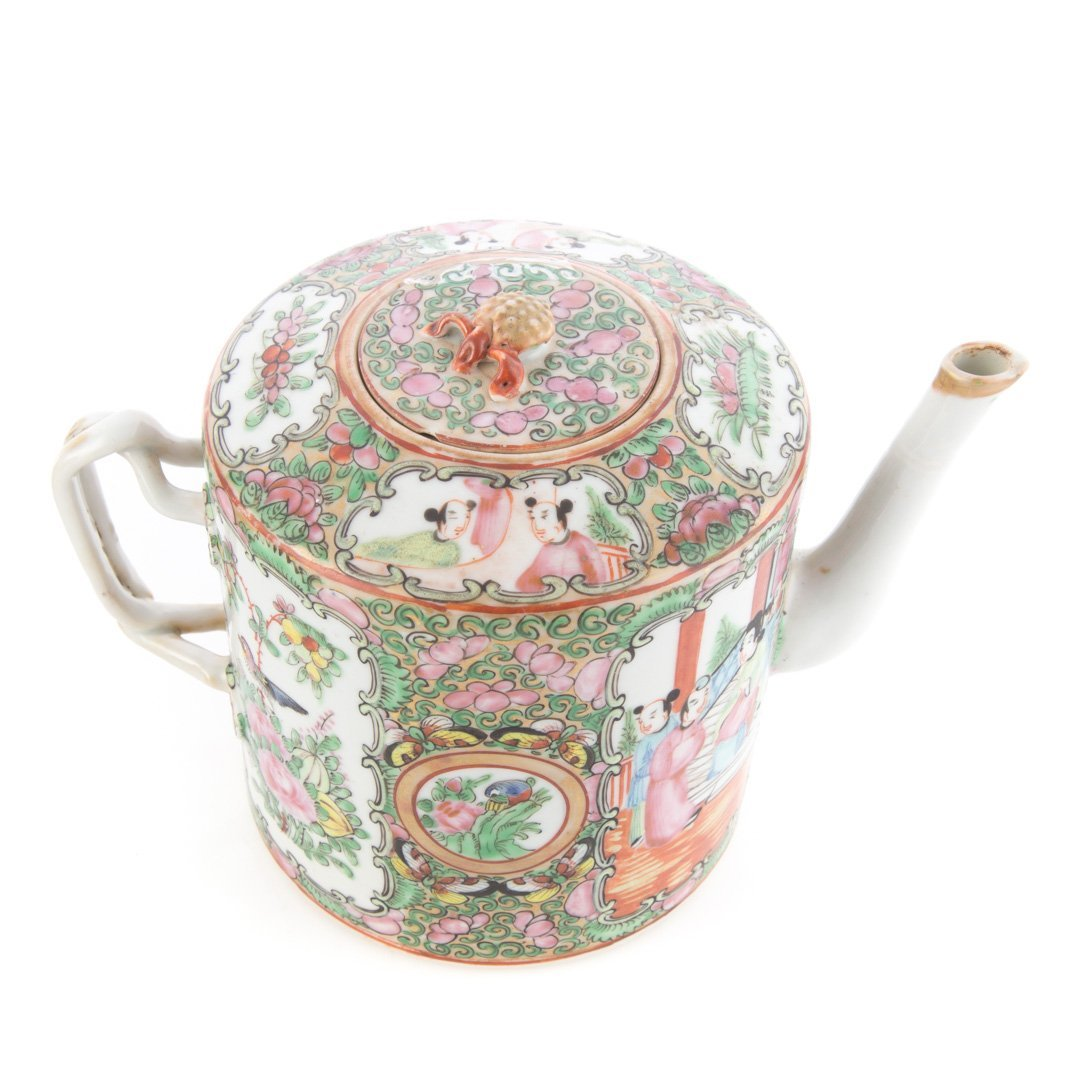 Four Chinese Export Rose Medallion tea articles - 3