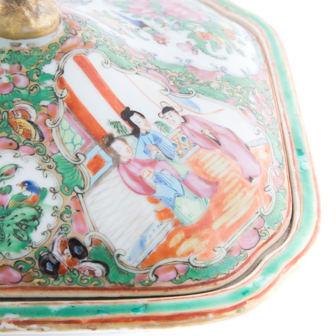3 Chinese Export Rose Medallion serving articles - 6