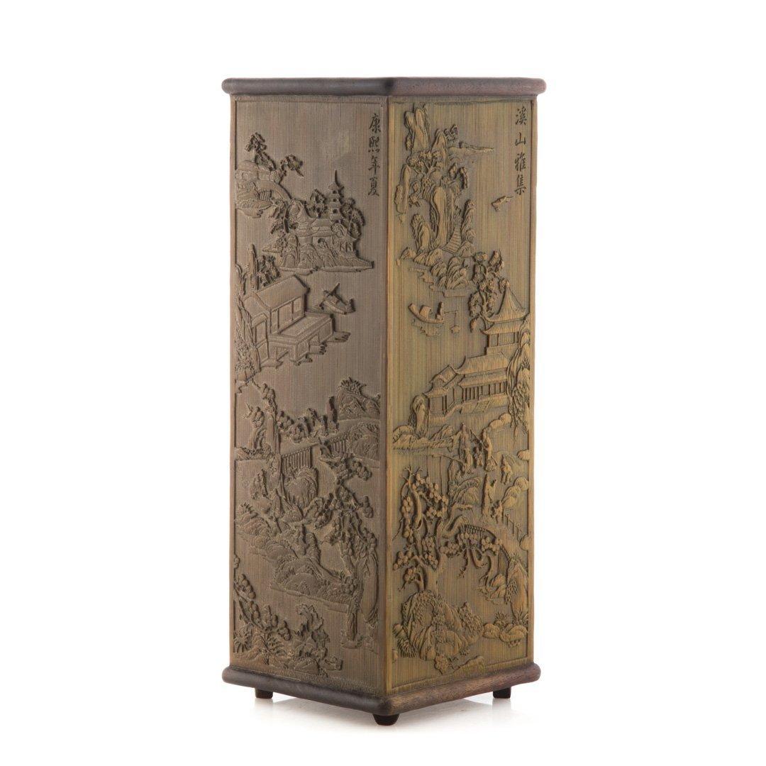 Chinese carved wood paneled brush holder - 2