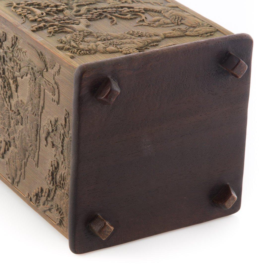 Chinese carved wood paneled brush holder - 4
