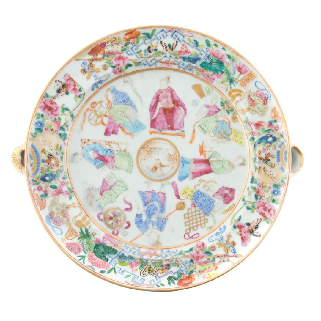 Chinese Export Rose Mandarin hot water plate