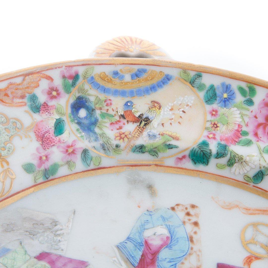 Chinese Export Rose Mandarin hot water plate - 3