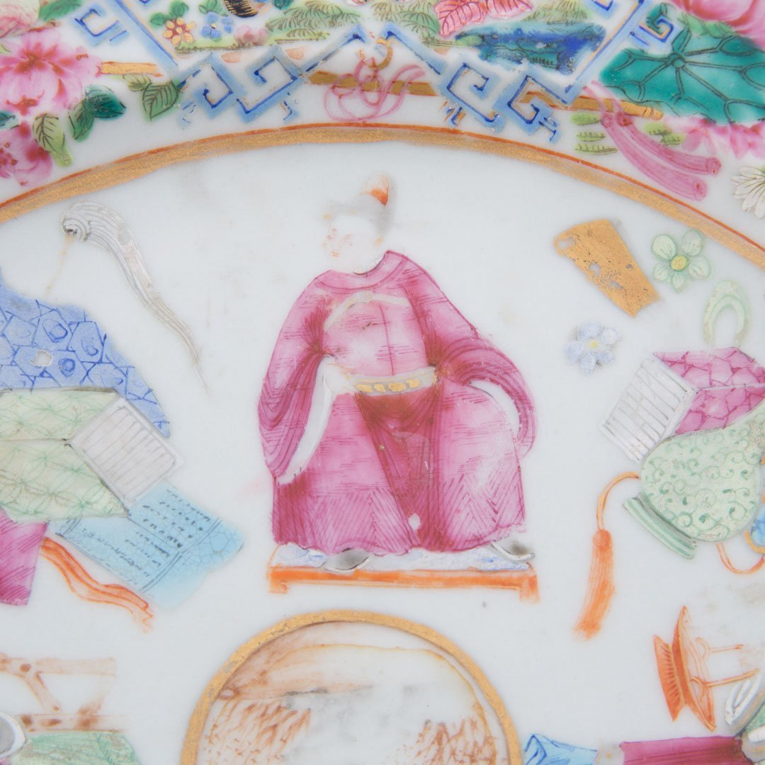 Chinese Export Rose Mandarin hot water plate - 4