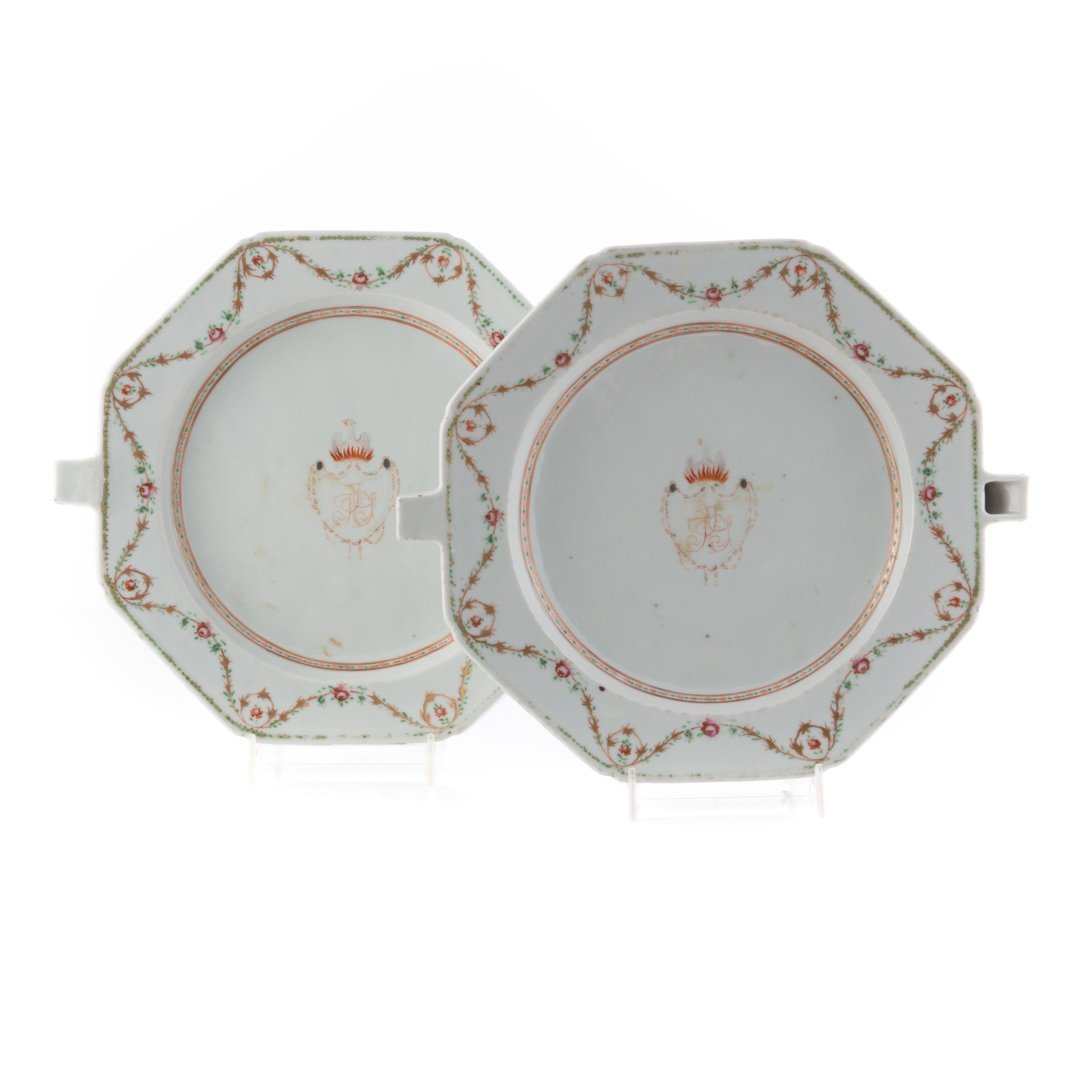 Pair Chinese Export armorial hot water plates
