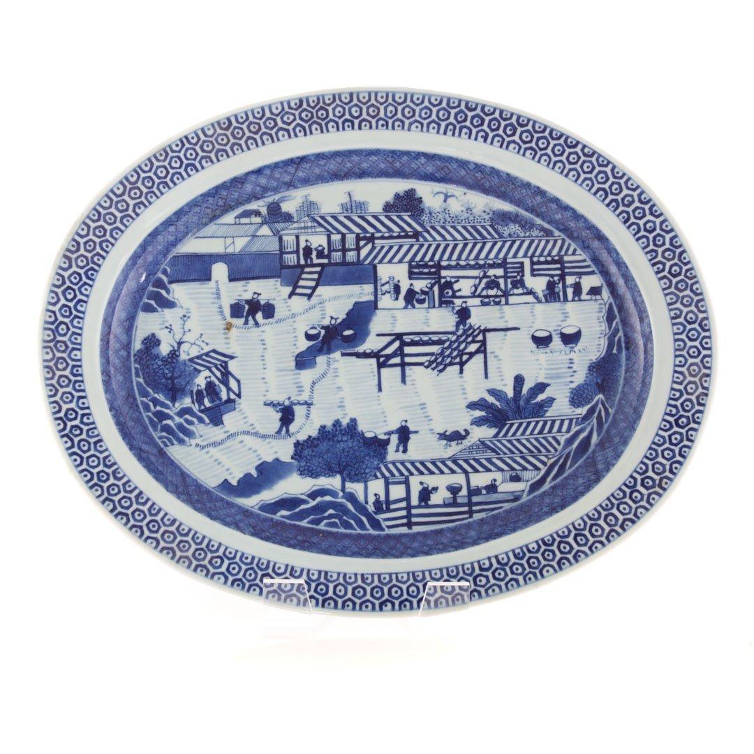 Chinese Export blue & white porcelain oval platter