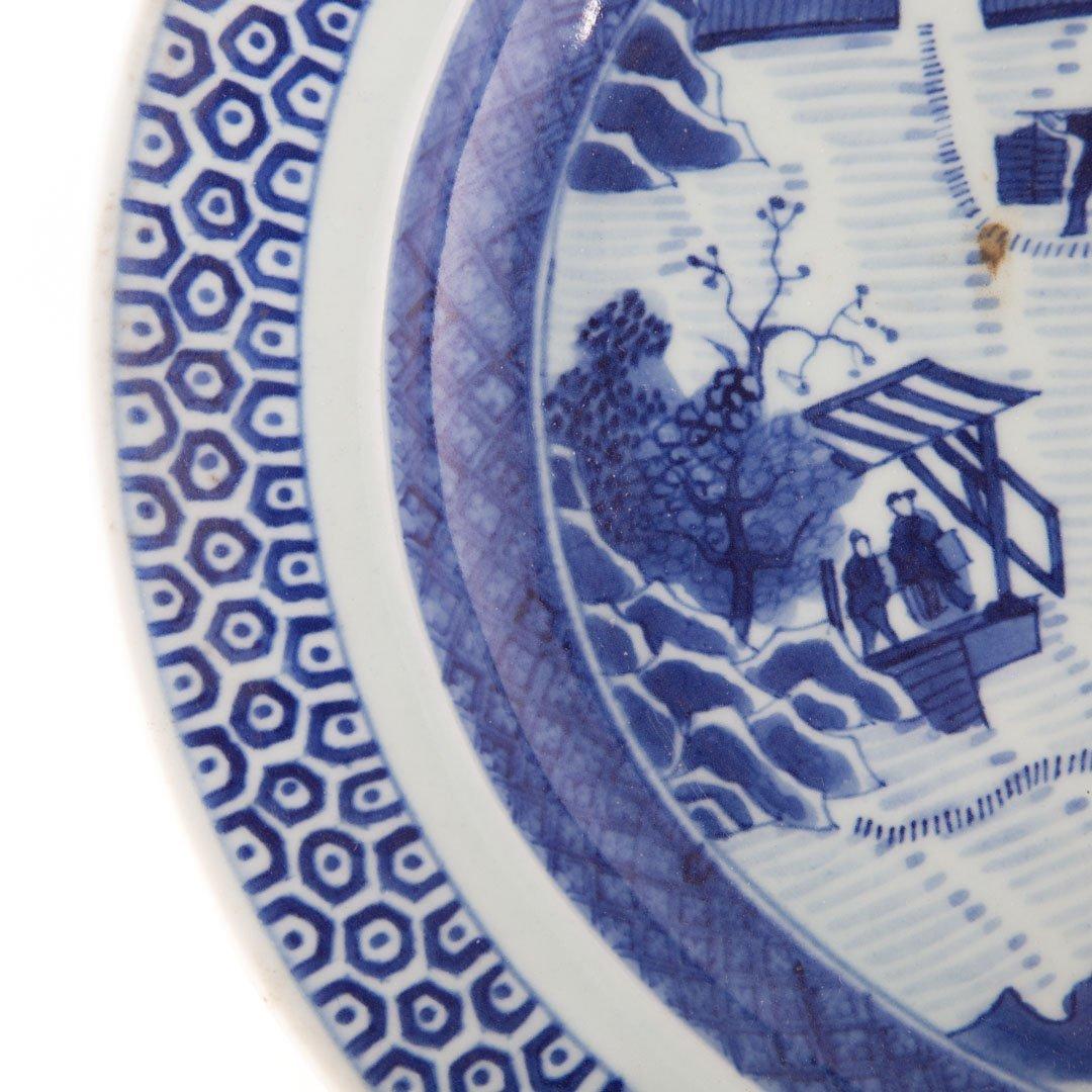 Chinese Export blue & white porcelain oval platter - 3
