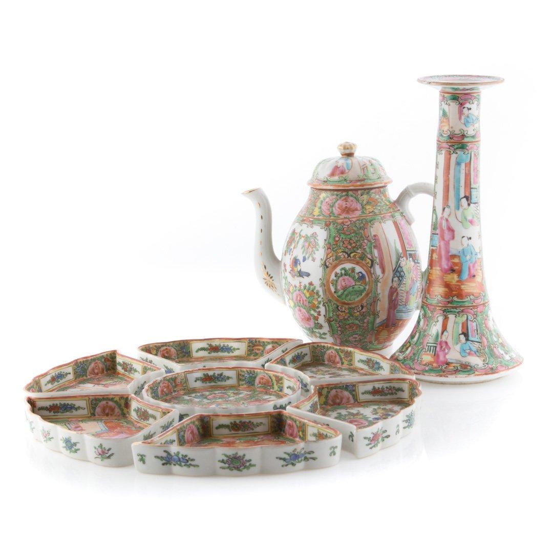 Nine pieces of Rose Medallion tableware