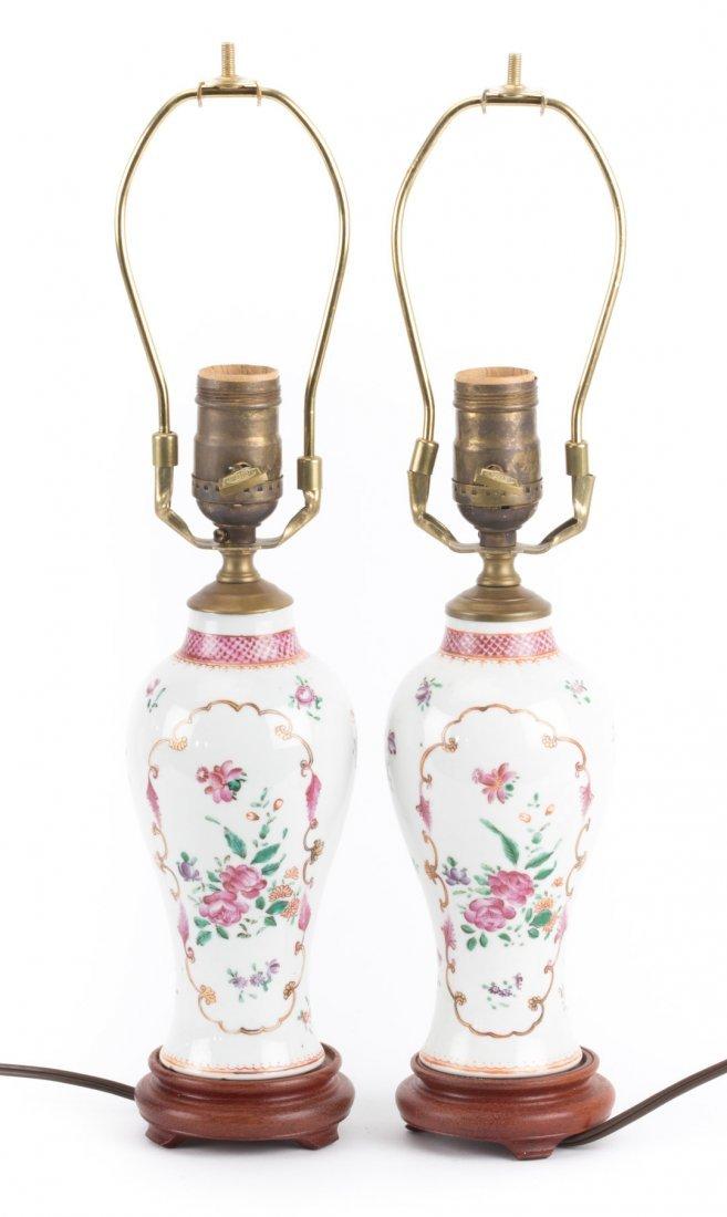 Pair Chinese Export Famille Rose garniture lamps