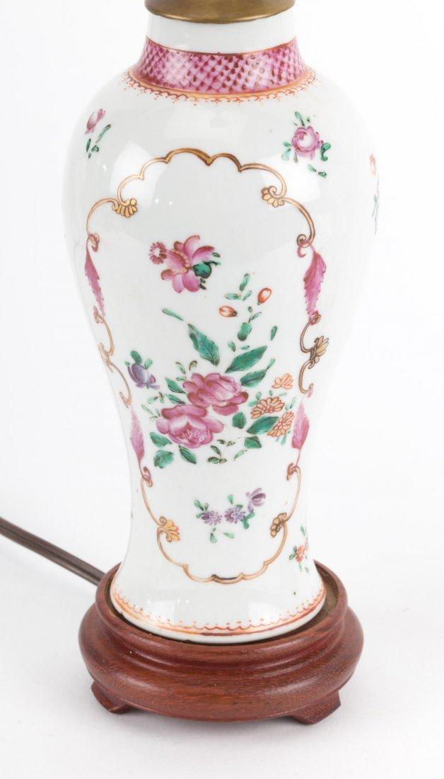 Pair Chinese Export Famille Rose garniture lamps - 2