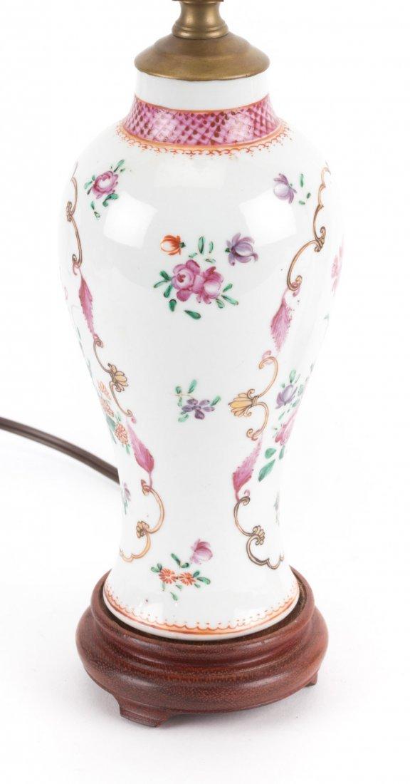 Pair Chinese Export Famille Rose garniture lamps - 3