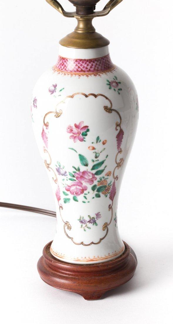 Pair Chinese Export Famille Rose garniture lamps - 4