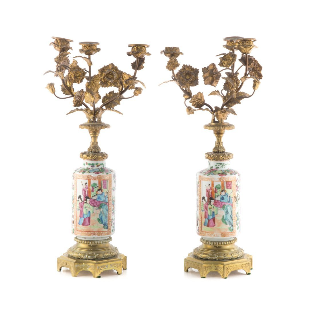 Pair Chinese Export Rose Mandarin candelabra