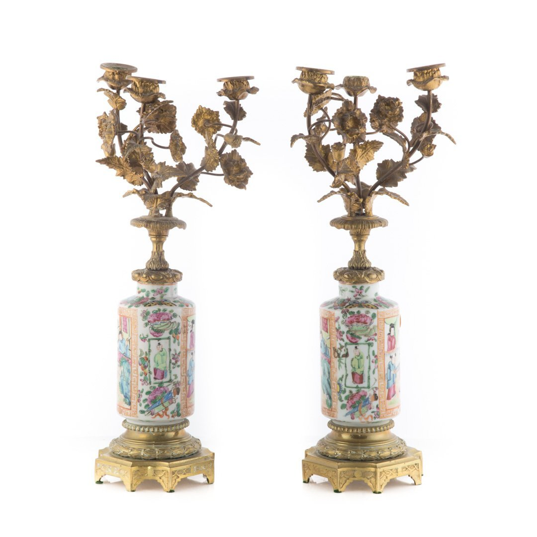 Pair Chinese Export Rose Mandarin candelabra - 2
