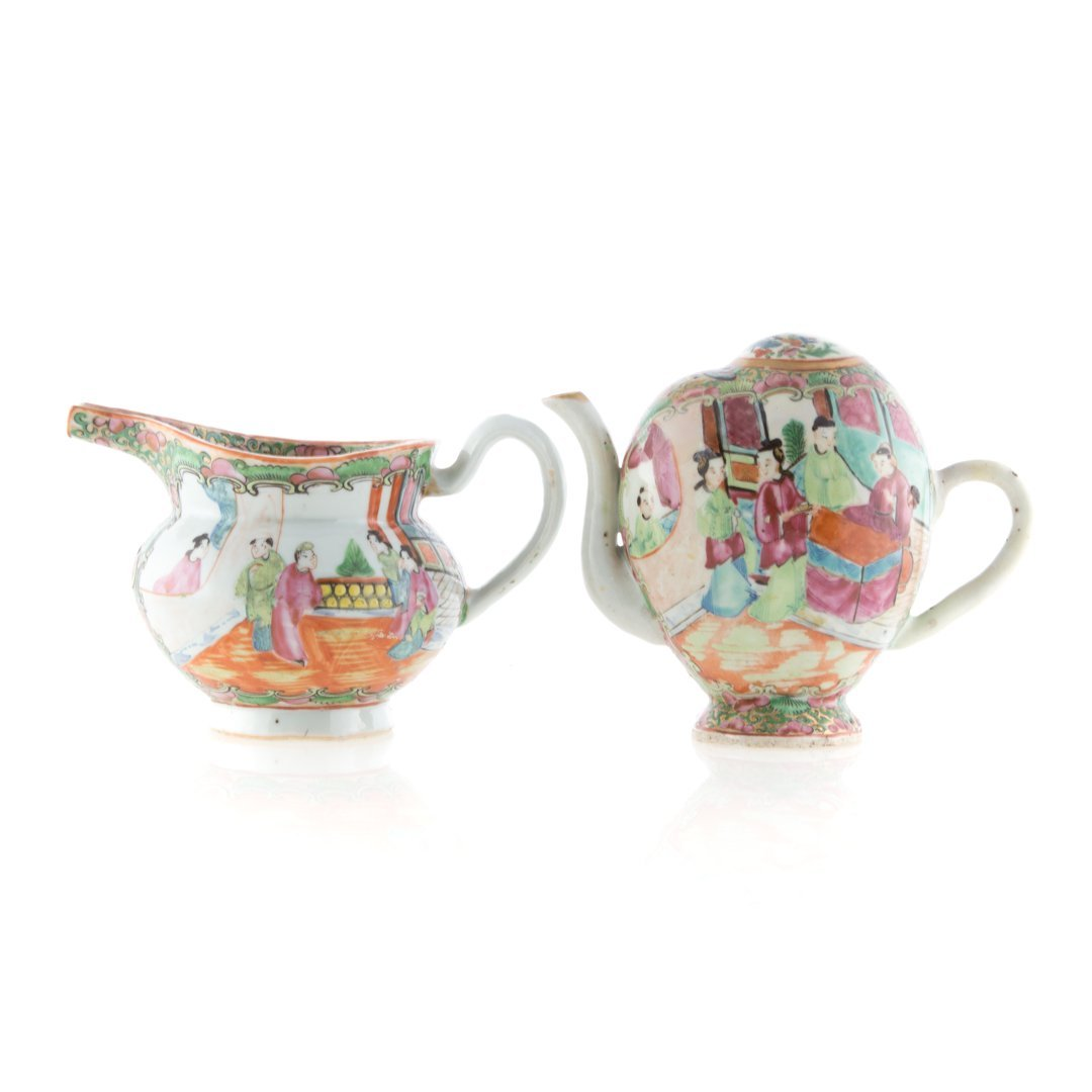 Chinese Export Rose Medallion cadogan and creamer