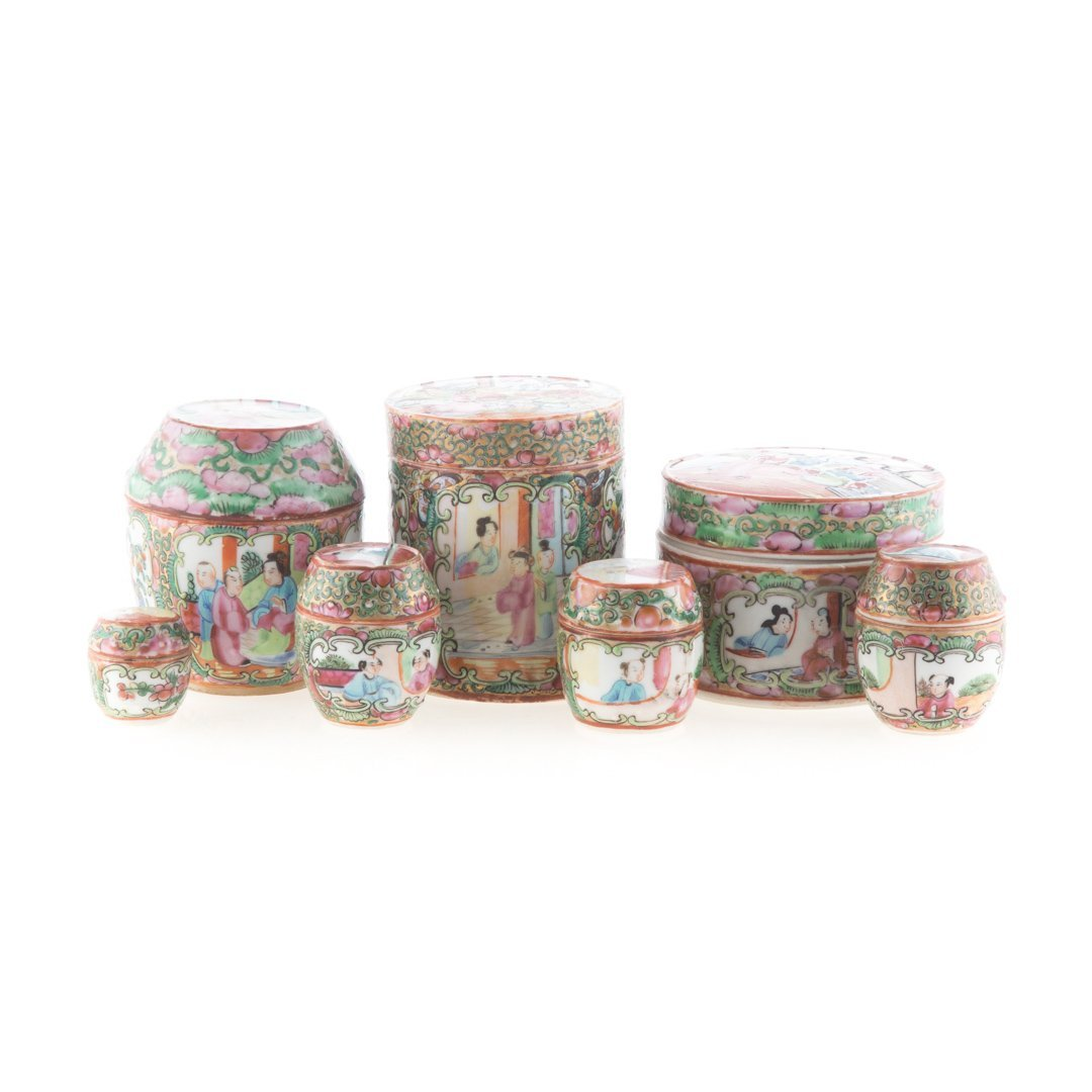 Seven Chinese Export Rose Medallion vanity jars