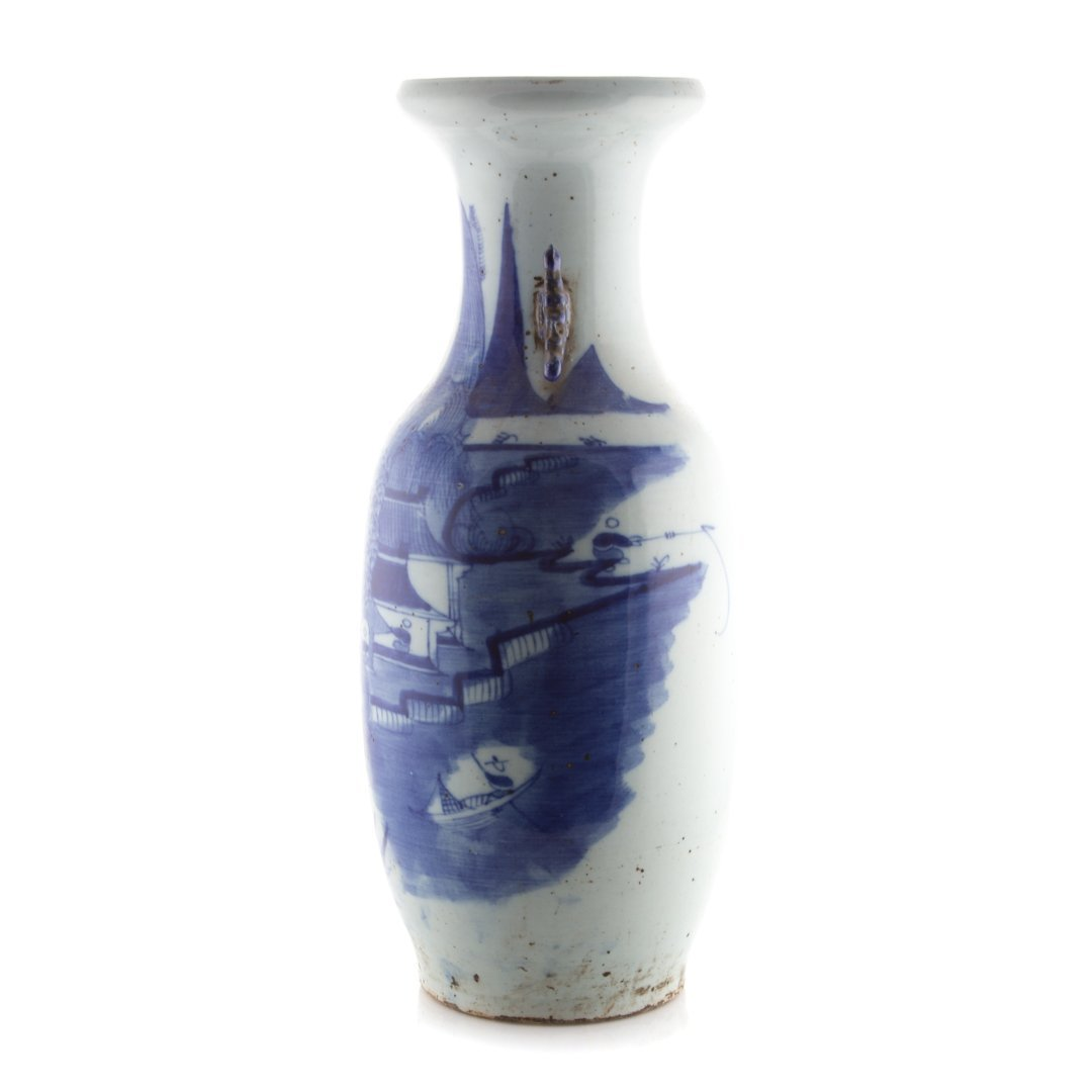 Large Chinese Export blue and white vase - 2