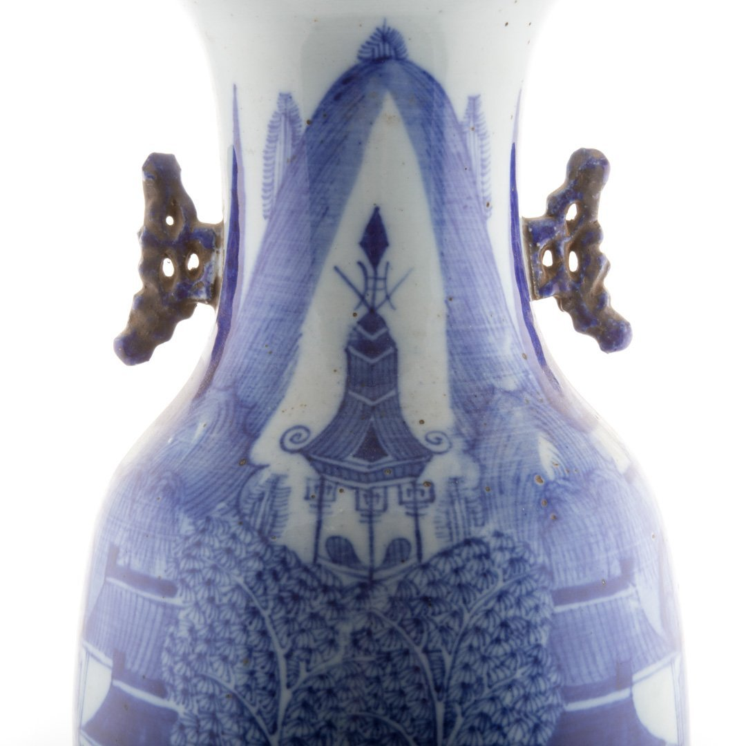 Large Chinese Export blue and white vase - 4