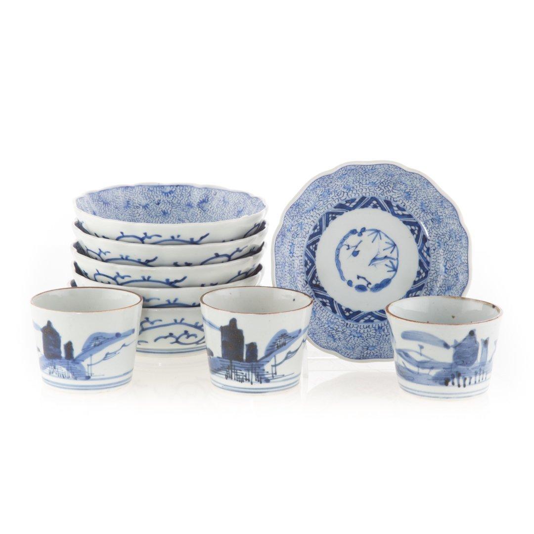 Six Japanese Arita bowls and beaker cups