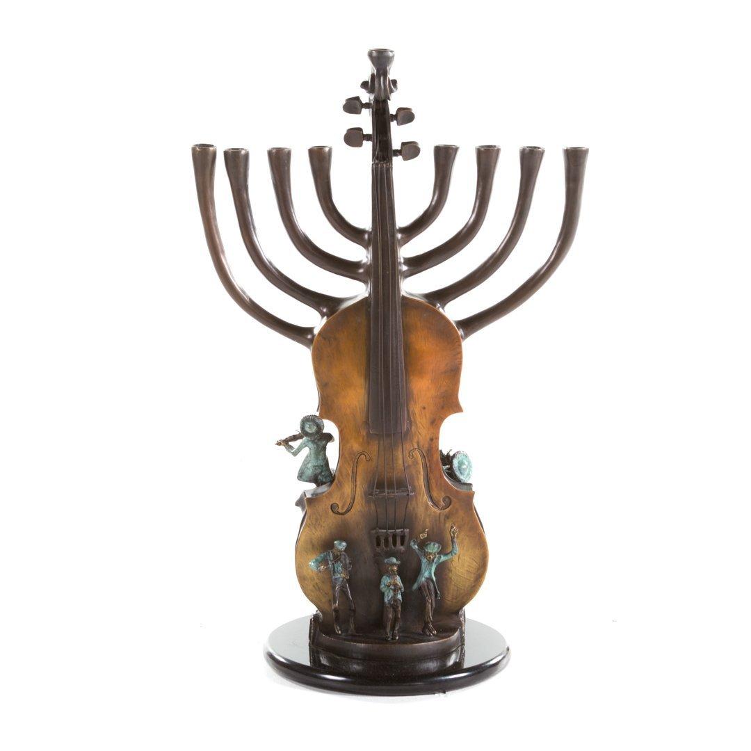 Violin menorah bronze sculpture