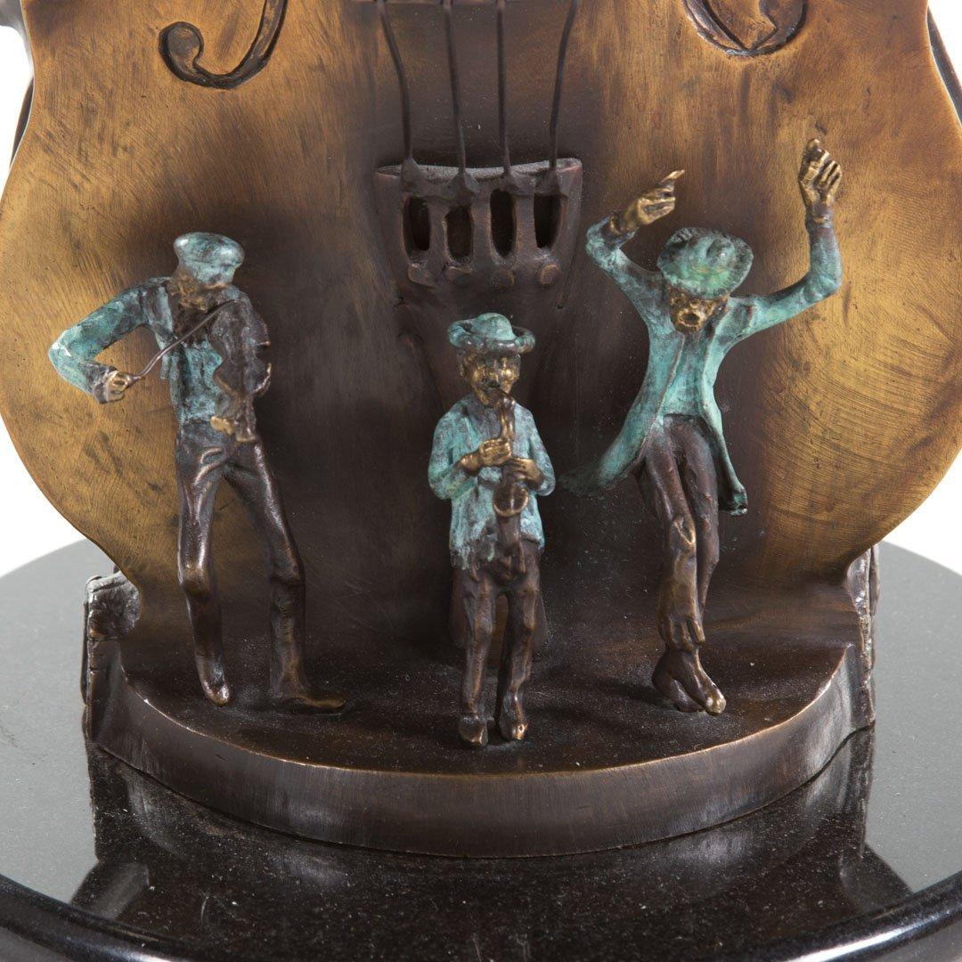 Violin menorah bronze sculpture - 3