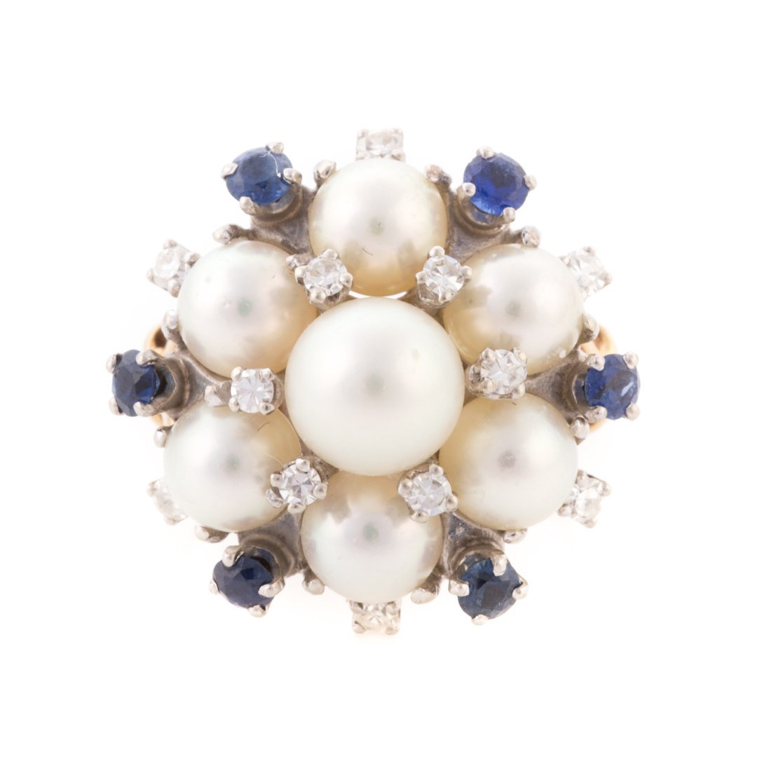 A Lady's Pearl, Diamond & Sapphire Cocktail Ring