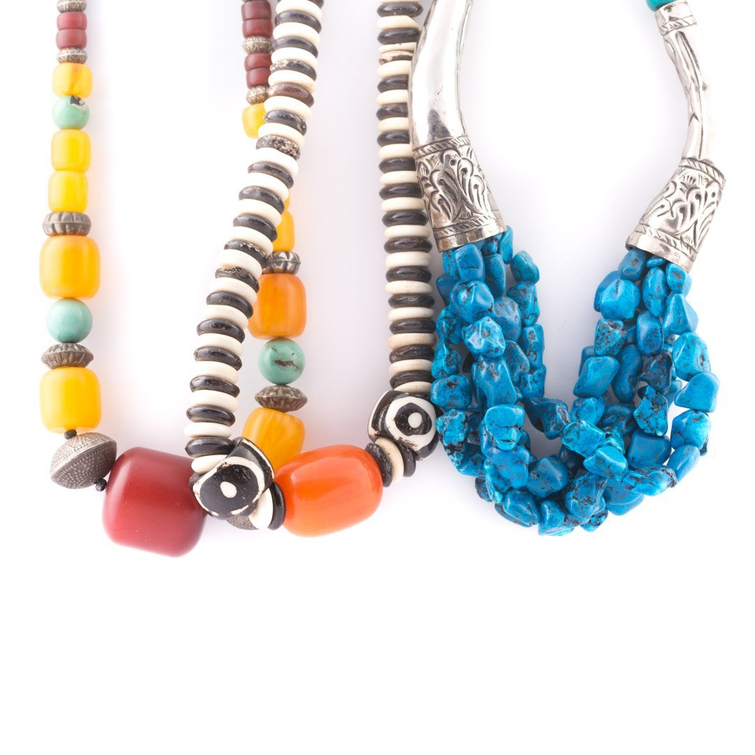 A Trio of Amber & Turquoise Beaded Necklaces