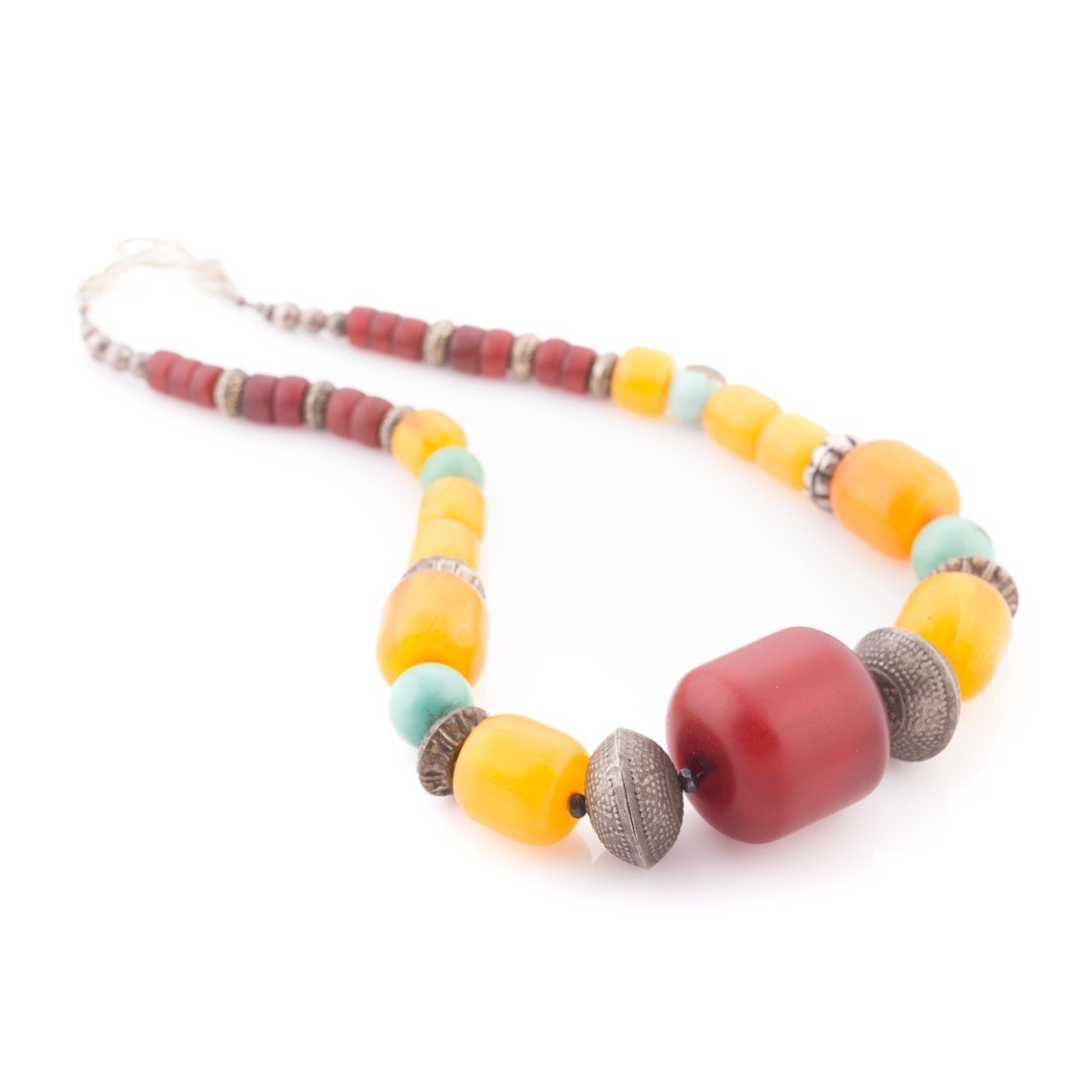 A Trio of Amber & Turquoise Beaded Necklaces - 4
