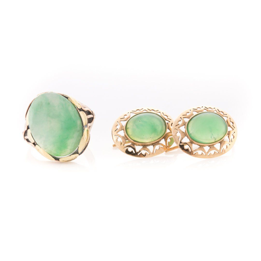 A Collection of Jade Jewelry in 14K Gold