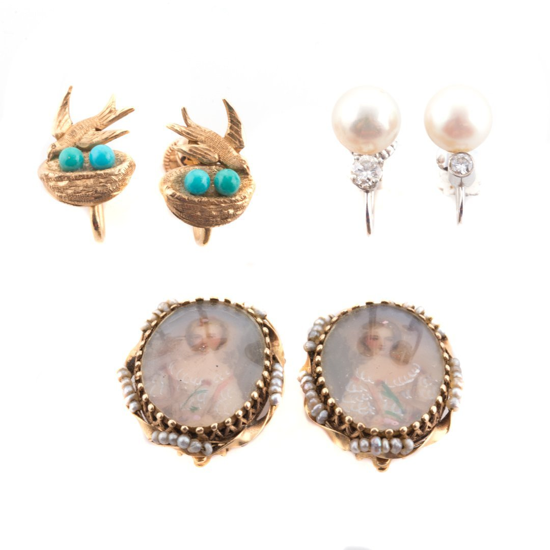 A Trio of Lady's Ear Clips in 14K Gold