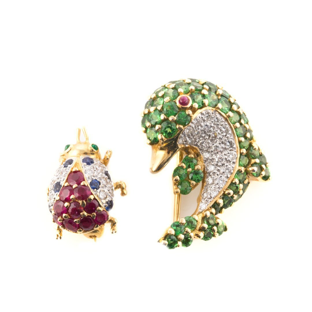 A Pair of 18K Dolphin & Ladybug Brooches by LeVian