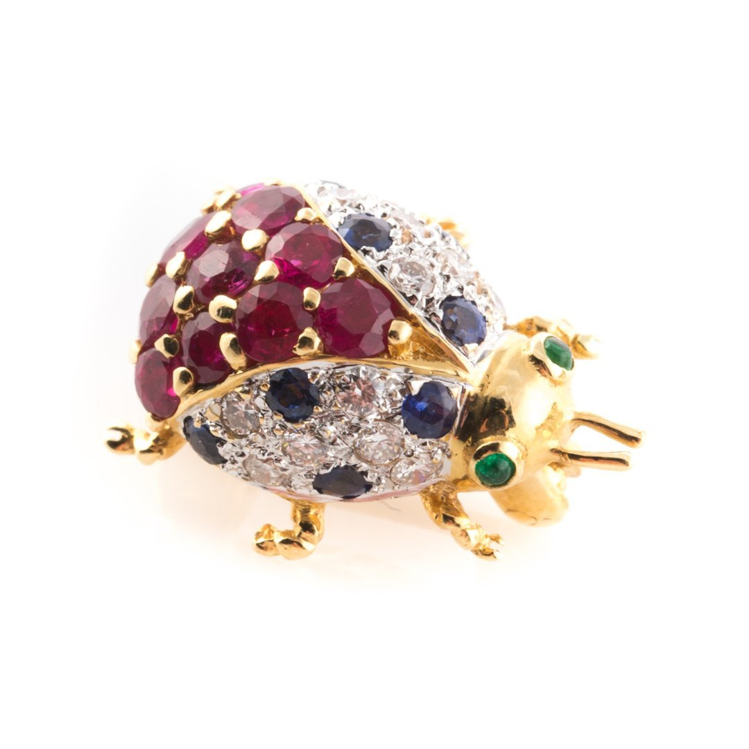A Pair of 18K Dolphin & Ladybug Brooches by LeVian - 2