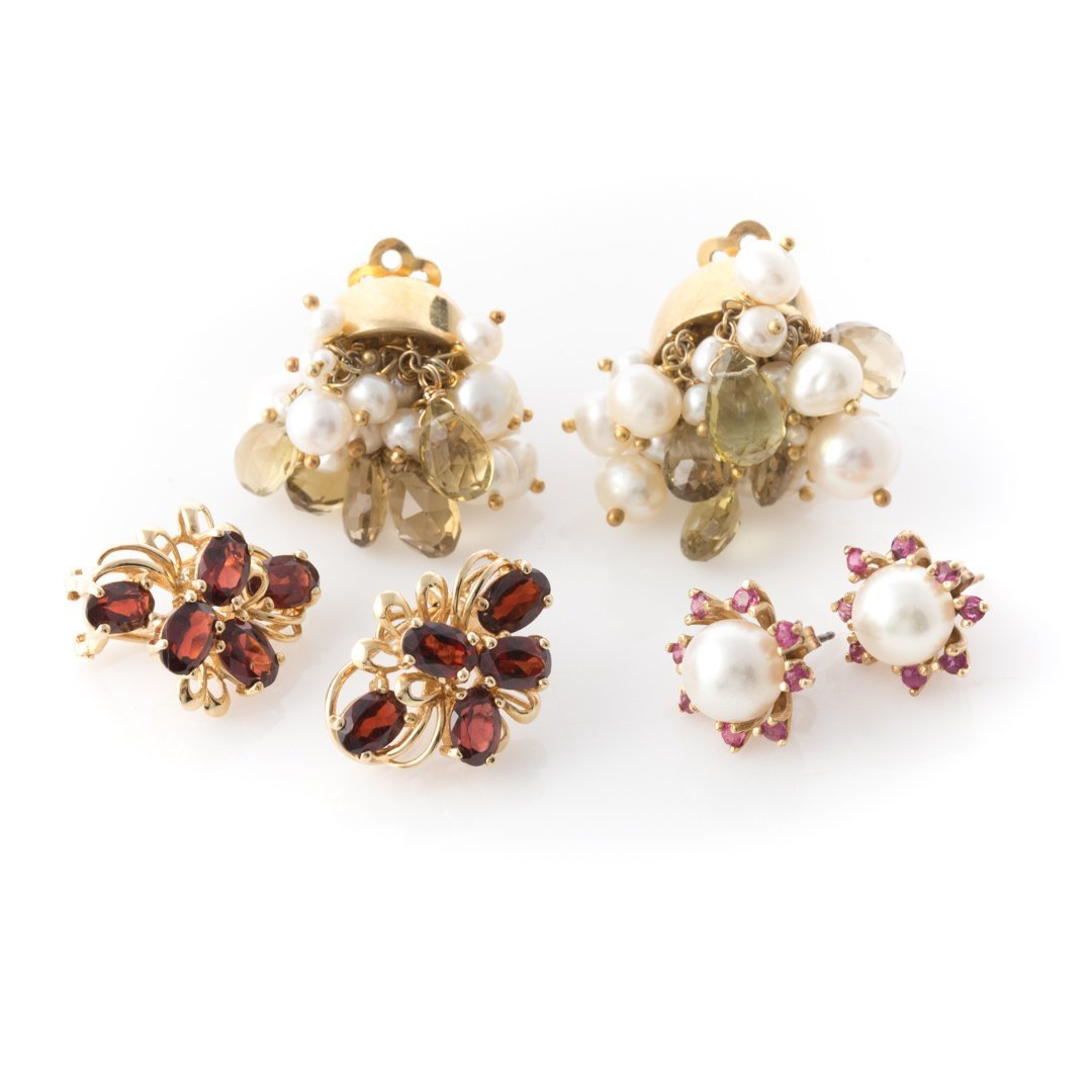 A Trio of Lady's Pearl and Gemstone Earrings