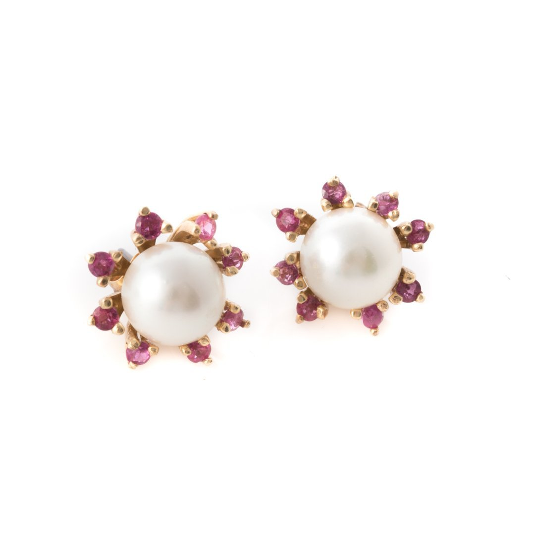 A Trio of Lady's Pearl and Gemstone Earrings - 4