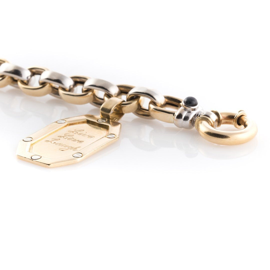 A Link Bracelet in 14K with an 18K Gold Charm - 3
