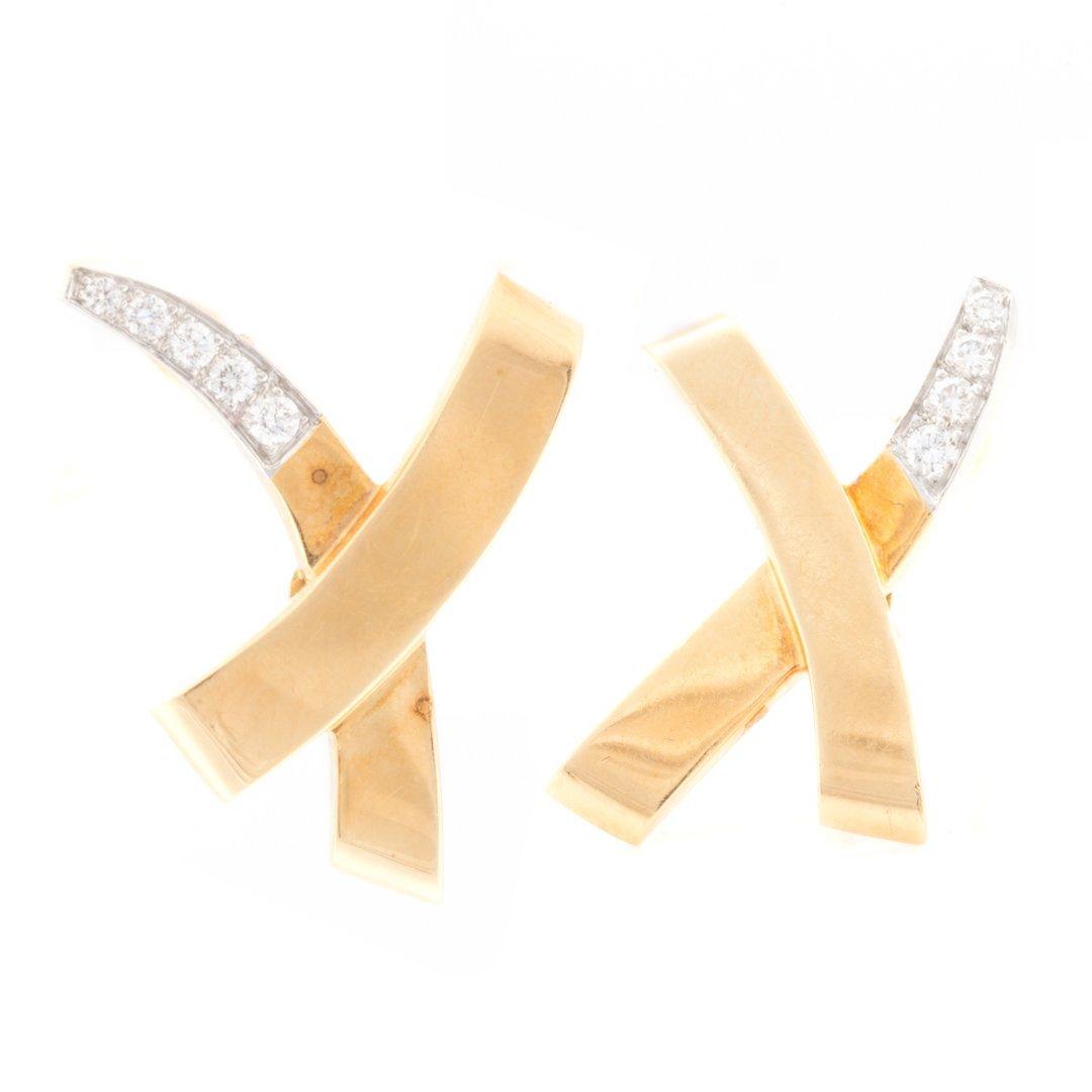 "A Pair of Diamond ""X"" Earrings by Tiffany & Co"