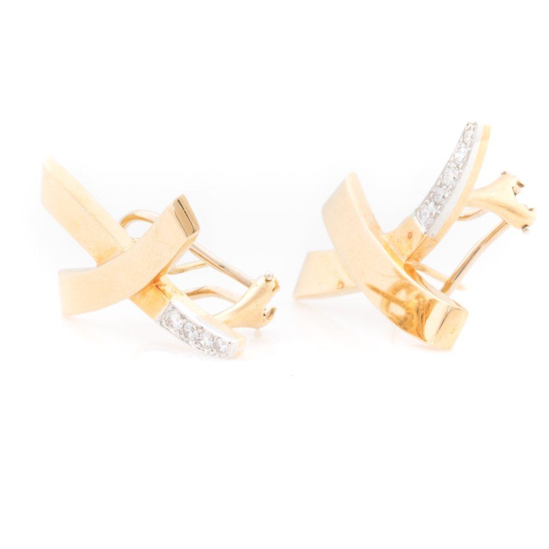 "A Pair of Diamond ""X"" Earrings by Tiffany & Co - 2"