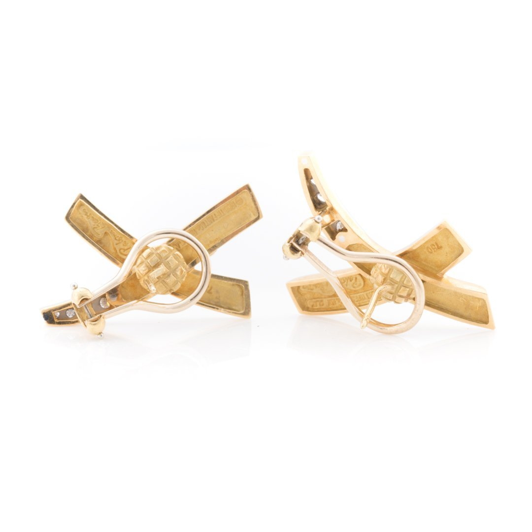 "A Pair of Diamond ""X"" Earrings by Tiffany & Co - 3"