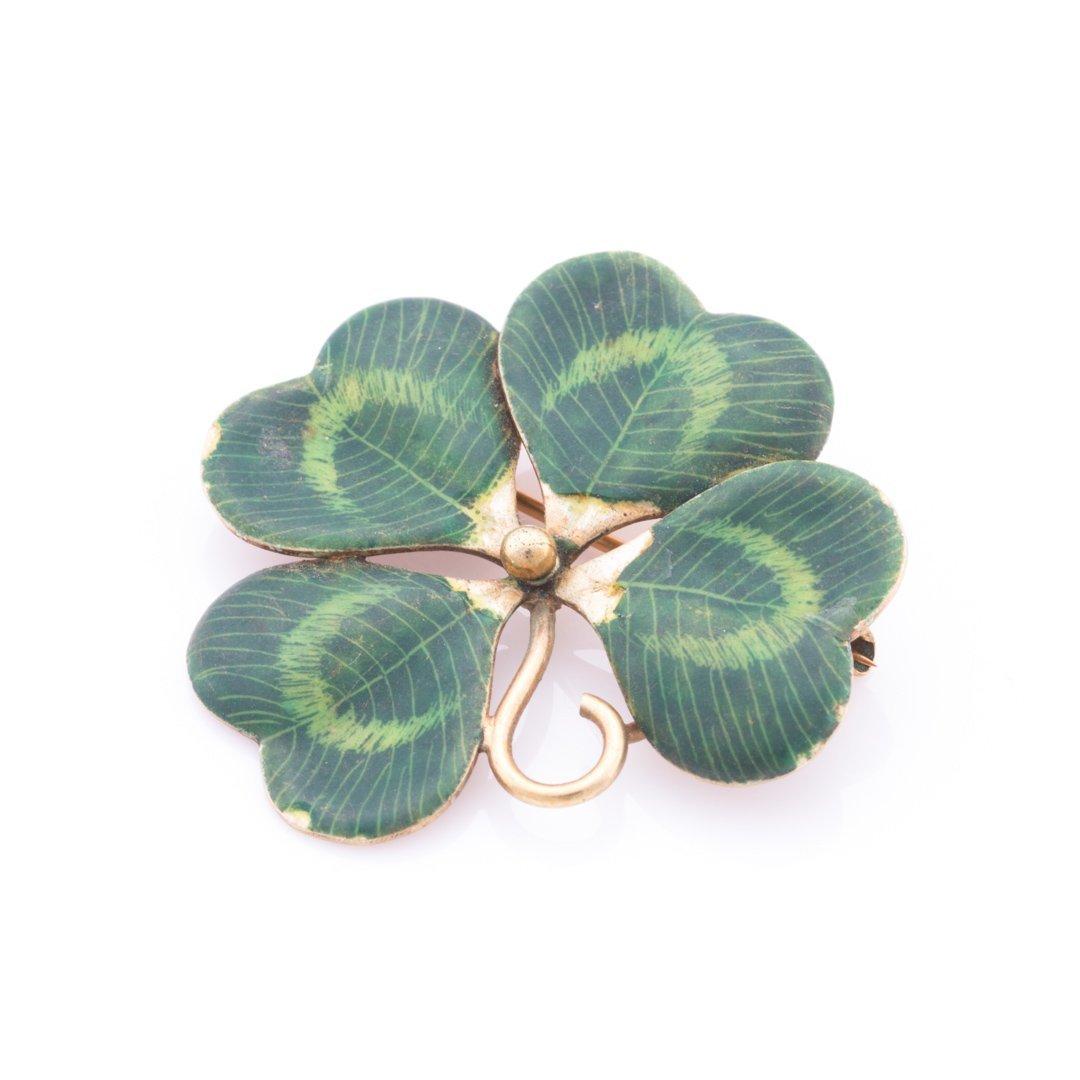 A Set of Green Enamel Clover Jewelry in 14K Gold - 2