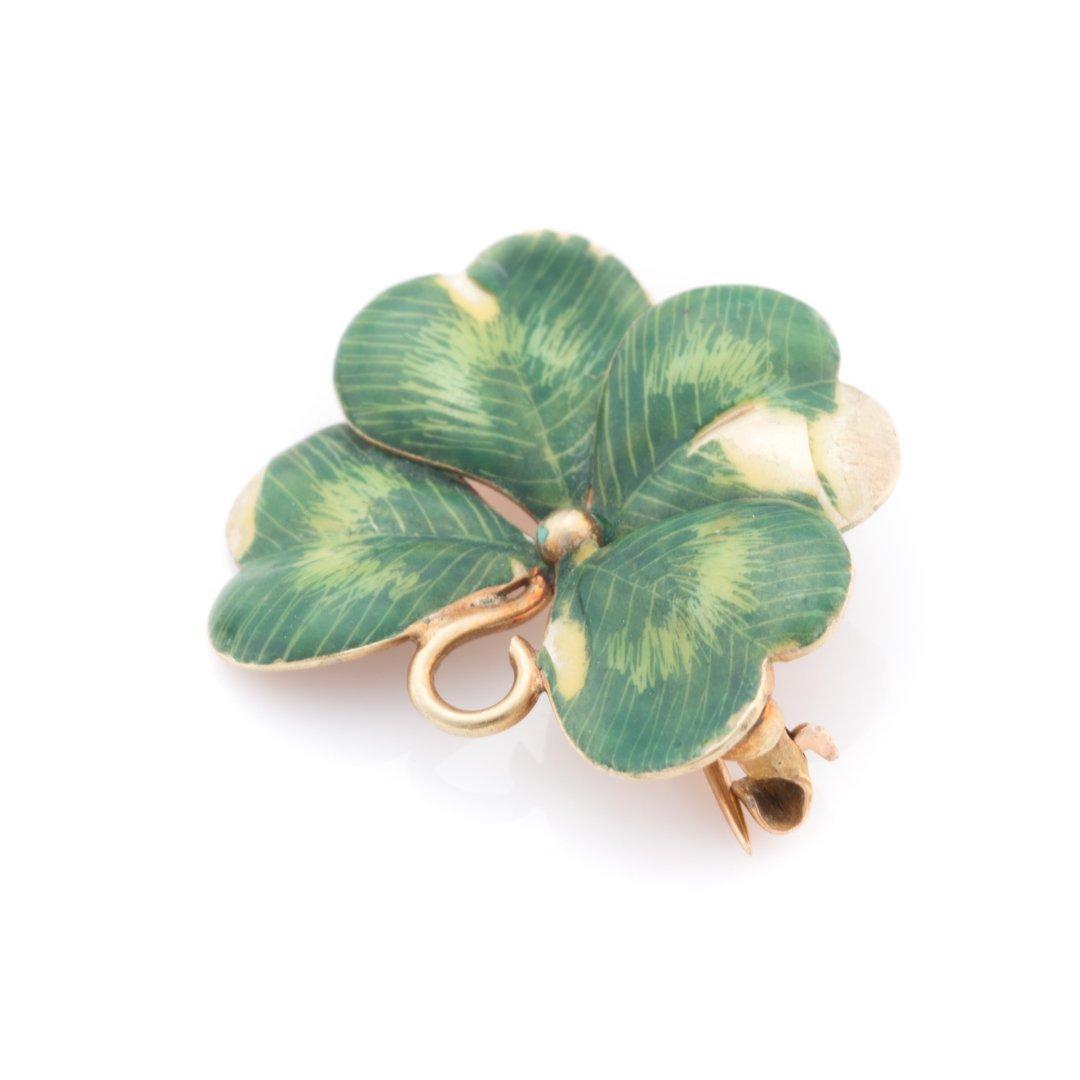 A Set of Green Enamel Clover Jewelry in 14K Gold - 3