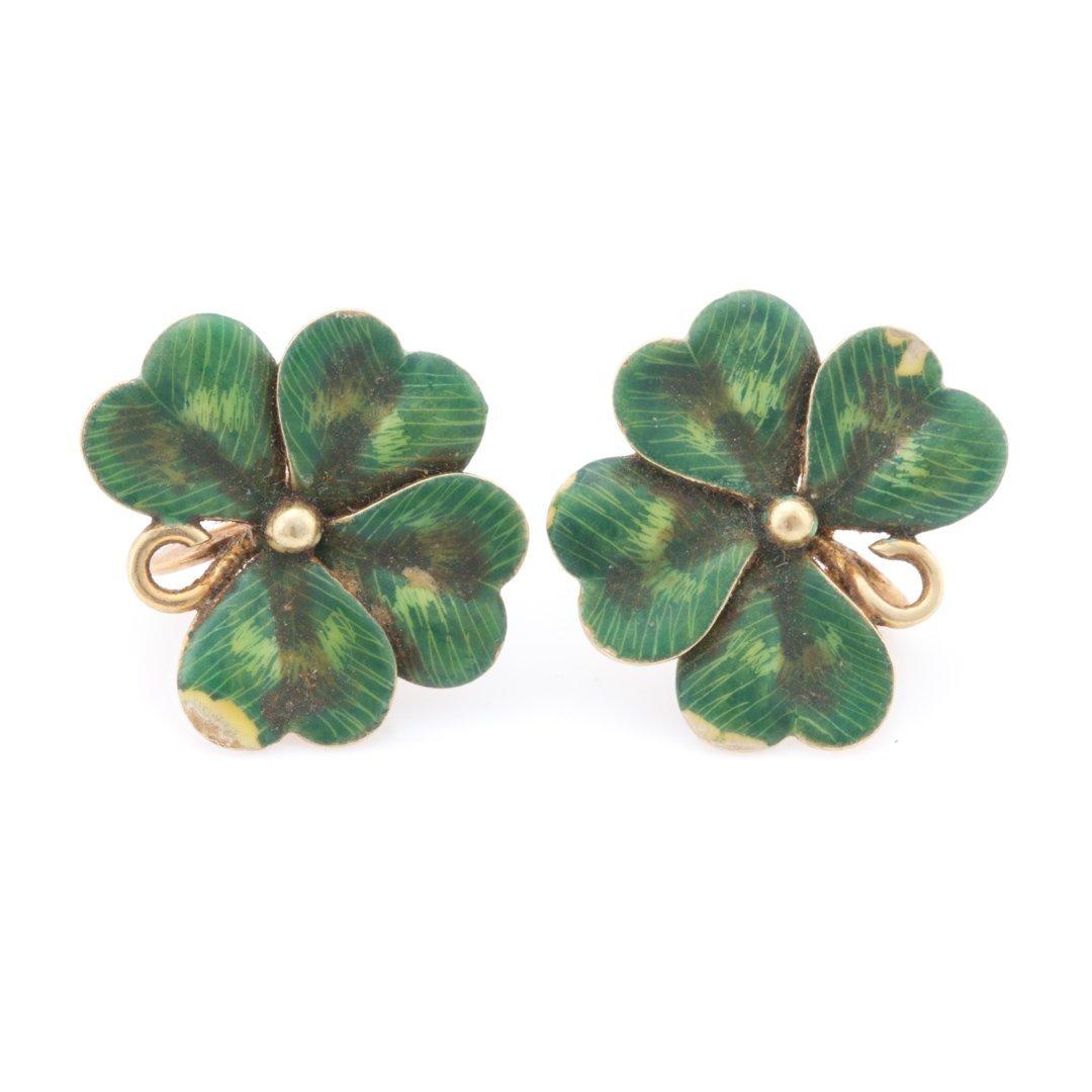 A Set of Green Enamel Clover Jewelry in 14K Gold - 4
