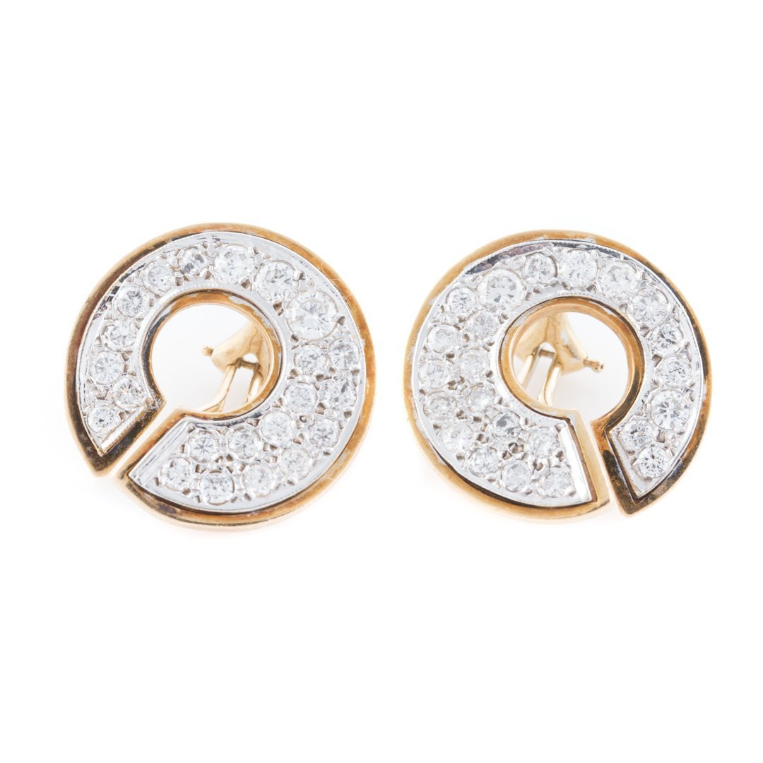 A Pair of Lady's Pave Diamond Open Circle Earrings