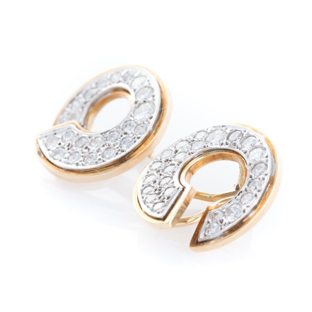 A Pair of Lady's Pave Diamond Open Circle Earrings - 2